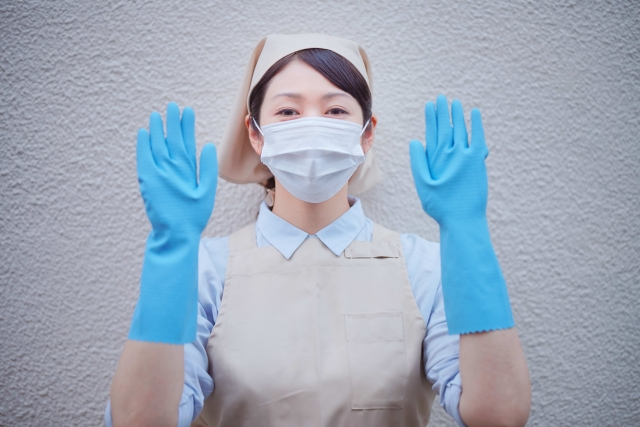 マスクとゴム手袋着用しましょう